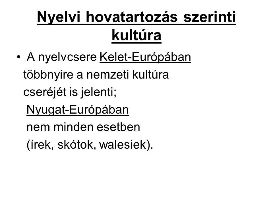 Nyelvi hovatartozás szerinti kultúra A nyelvcsere Kelet-Európában többnyire a nemzeti kultúra cseréjét is jelenti; Nyugat-Európában nem minden esetben (írek, skótok, walesiek).