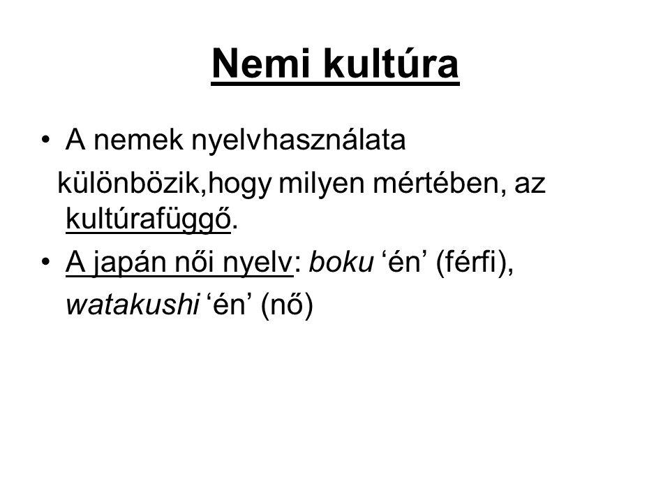 Nemi kultúra A nemek nyelvhasználata különbözik,hogy milyen mértében, az kultúrafüggő.