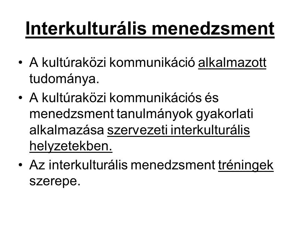 Interkulturális menedzsment A kultúraközi kommunikáció alkalmazott tudománya.
