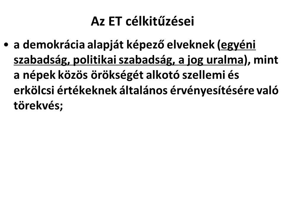 Az ET célkitűzései a demokrácia alapját képező elveknek (egyéni szabadság, politikai szabadság, a jog uralma), mint a népek közös örökségét alkotó sze