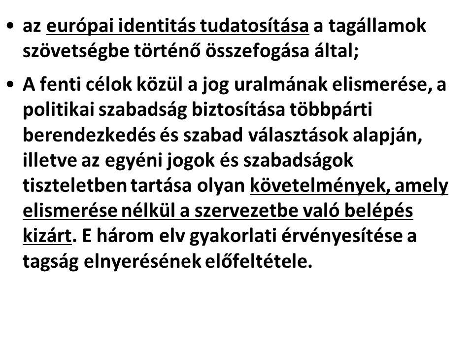 az európai identitás tudatosítása a tagállamok szövetségbe történő összefogása által; A fenti célok közül a jog uralmának elismerése, a politikai szab