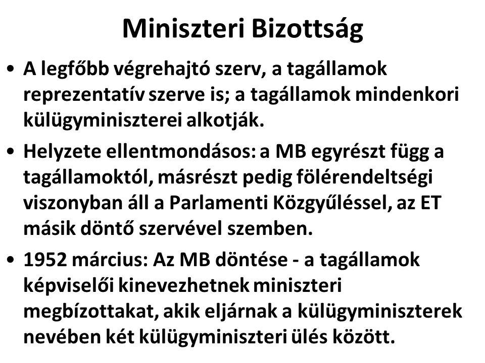 Miniszteri Bizottság A legfőbb végrehajtó szerv, a tagállamok reprezentatív szerve is; a tagállamok mindenkori külügyminiszterei alkotják. Helyzete el