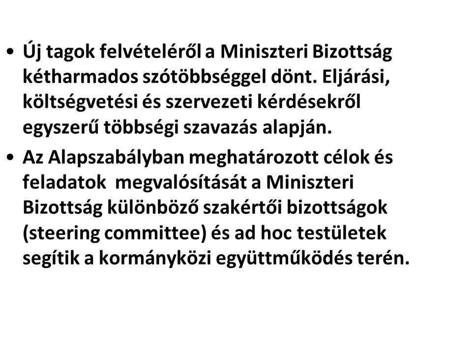 Új tagok felvételéről a Miniszteri Bizottság kétharmados szótöbbséggel dönt. Eljárási, költségvetési és szervezeti kérdésekről egyszerű többségi szava
