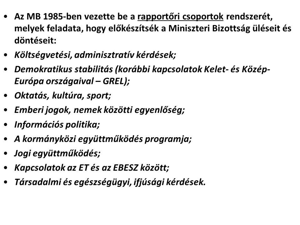 Az MB 1985-ben vezette be a rapportőri csoportok rendszerét, melyek feladata, hogy előkészítsék a Miniszteri Bizottság üléseit és döntéseit: Költségve