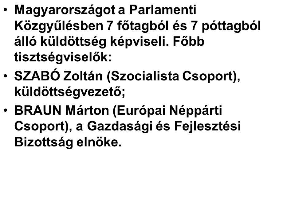 Magyarországot a Parlamenti Közgyűlésben 7 főtagból és 7 póttagból álló küldöttség képviseli. Főbb tisztségviselők: SZABÓ Zoltán (Szocialista Csoport)