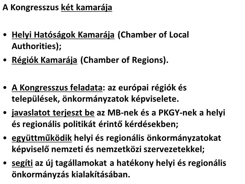 A Kongresszus két kamarája Helyi Hatóságok Kamarája (Chamber of Local Authorities); Régiók Kamarája (Chamber of Regions). A Kongresszus feladata: az e