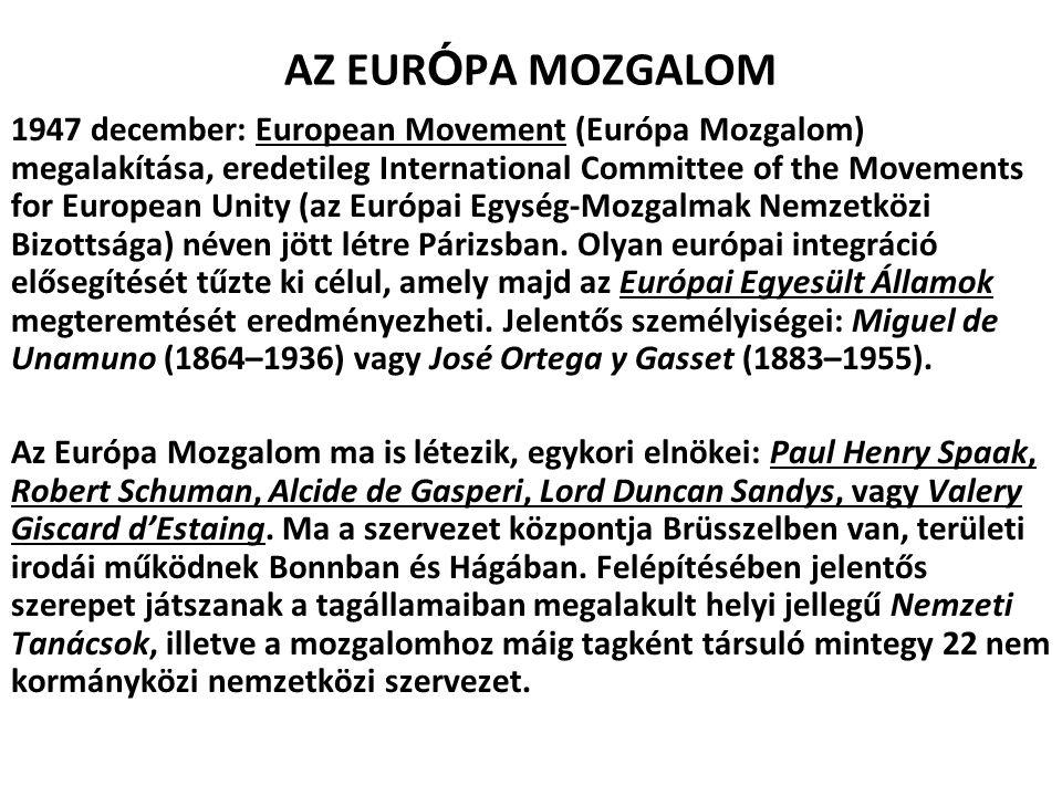 AZ EUR Ó PA MOZGALOM 1947 december: European Movement (Európa Mozgalom) megalakítása, eredetileg International Committee of the Movements for European