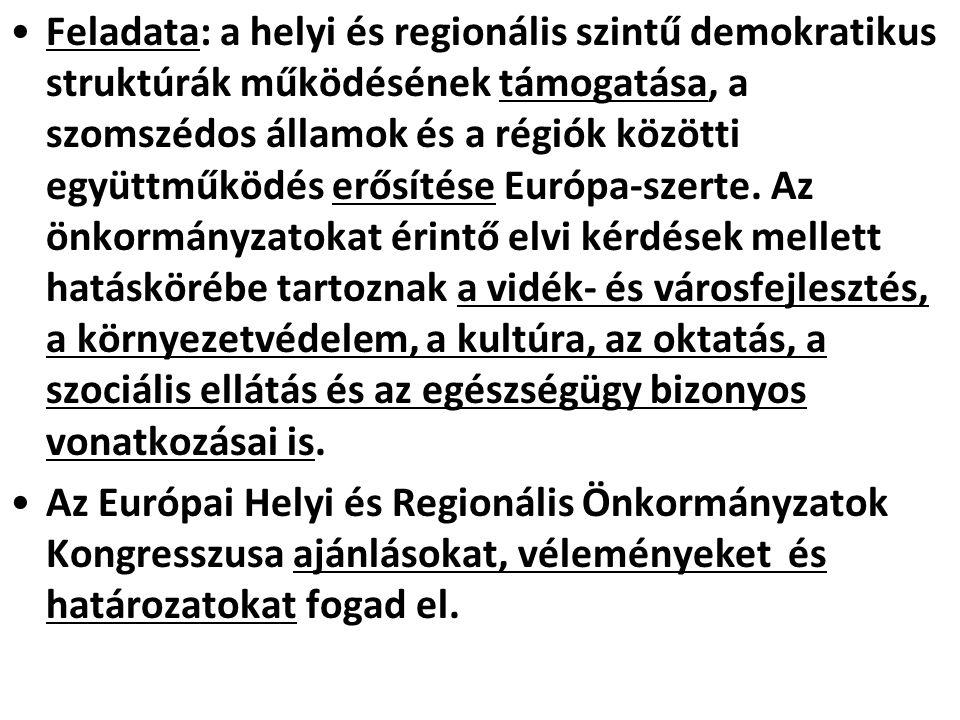 Feladata: a helyi és regionális szintű demokratikus struktúrák működésének támogatása, a szomszédos államok és a régiók közötti együttműködés erősítés