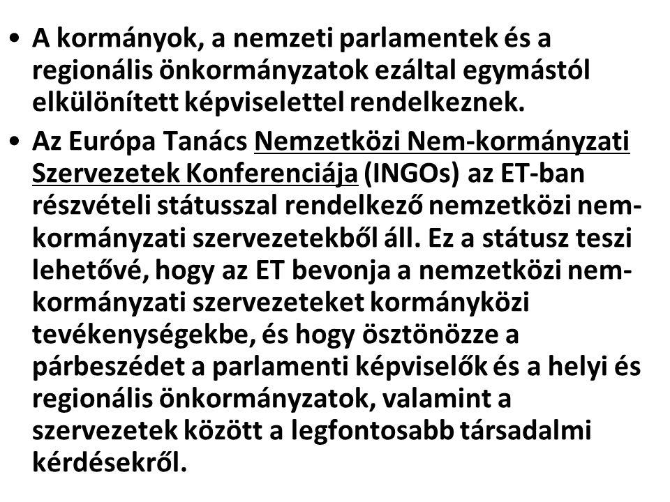 A kormányok, a nemzeti parlamentek és a regionális önkormányzatok ezáltal egymástól elkülönített képviselettel rendelkeznek. Az Európa Tanács Nemzetkö