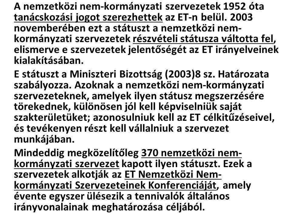 A nemzetközi nem-kormányzati szervezetek 1952 óta tanácskozási jogot szerezhettek az ET-n belül. 2003 novemberében ezt a státuszt a nemzetközi nem- ko