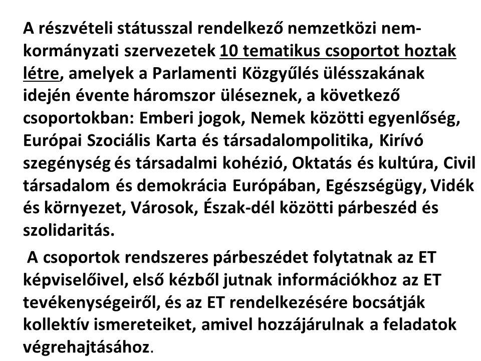 A részvételi státusszal rendelkező nemzetközi nem- kormányzati szervezetek 10 tematikus csoportot hoztak létre, amelyek a Parlamenti Közgyűlés üléssza