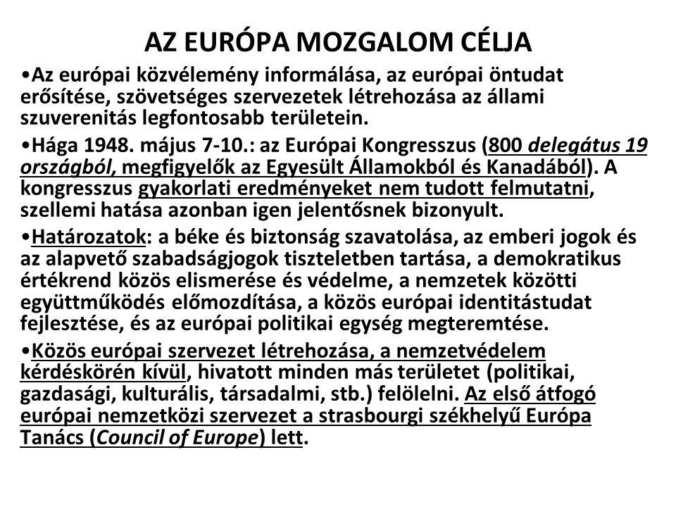 AZ EURÓPA MOZGALOM CÉLJA Az európai közvélemény informálása, az európai öntudat erősítése, szövetséges szervezetek létrehozása az állami szuverenitás