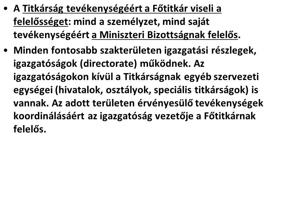 A Titkárság tevékenységéért a Főtitkár viseli a felelősséget: mind a személyzet, mind saját tevékenységéért a Miniszteri Bizottságnak felelős. Minden