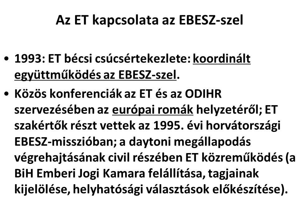 Az ET kapcsolata az EBESZ-szel 1993: ET bécsi csúcsértekezlete: koordinált együttműködés az EBESZ-szel. Közös konferenciák az ET és az ODIHR szervezés