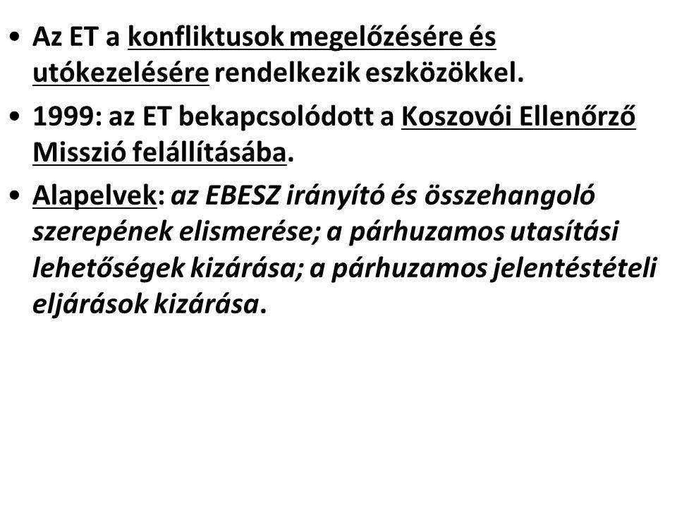 Az ET a konfliktusok megelőzésére és utókezelésére rendelkezik eszközökkel. 1999: az ET bekapcsolódott a Koszovói Ellenőrző Misszió felállításába. Ala