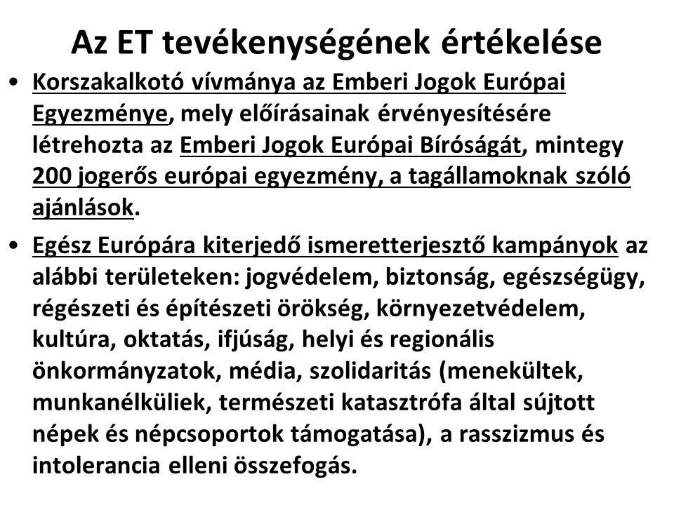 Az ET tevékenységének értékelése Korszakalkotó vívmánya az Emberi Jogok Európai Egyezménye, mely előírásainak érvényesítésére létrehozta az Emberi Jog