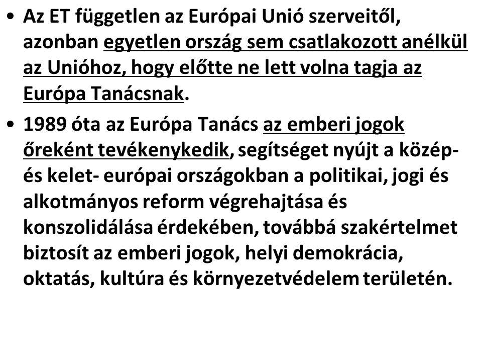 Az ET független az Európai Unió szerveitől, azonban egyetlen ország sem csatlakozott anélkül az Unióhoz, hogy előtte ne lett volna tagja az Európa Tan