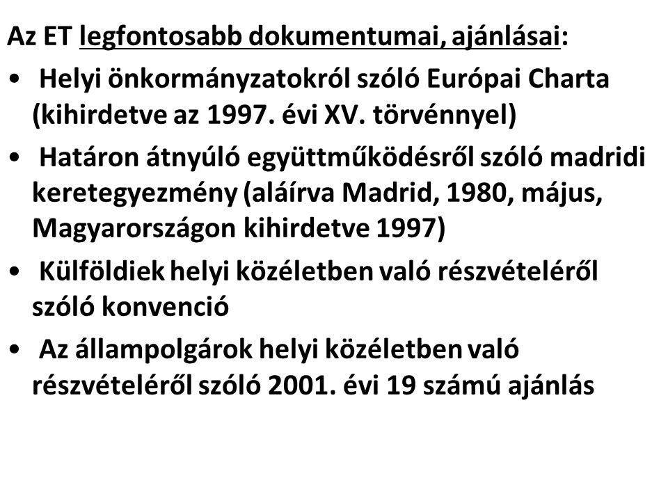 Az ET legfontosabb dokumentumai, ajánlásai: Helyi önkormányzatokról szóló Európai Charta (kihirdetve az 1997. évi XV. törvénnyel) Határon átnyúló együ