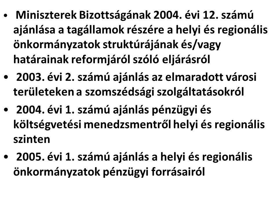 Miniszterek Bizottságának 2004. évi 12. számú ajánlása a tagállamok részére a helyi és regionális önkormányzatok struktúrájának és/vagy határainak ref