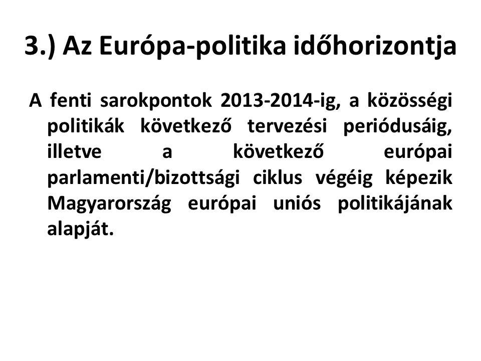 3.) Az Európa-politika időhorizontja A fenti sarokpontok 2013-2014-ig, a közösségi politikák következő tervezési periódusáig, illetve a következő európai parlamenti/bizottsági ciklus végéig képezik Magyarország európai uniós politikájának alapját.