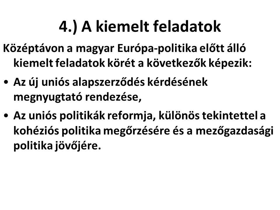 4.) A kiemelt feladatok Középtávon a magyar Európa-politika előtt álló kiemelt feladatok körét a következők képezik: Az új uniós alapszerződés kérdésének megnyugtató rendezése, Az uniós politikák reformja, különös tekintettel a kohéziós politika megőrzésére és a mezőgazdasági politika jövőjére.