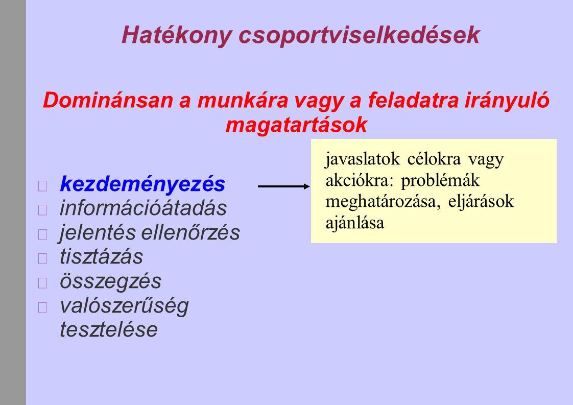Hatékony csoportviselkedések Dominánsan a munkára vagy a feladatra irányuló magatartások kezdeményezés információátadás jelentés ellenőrzés tisztázás összegzés valószerűség tesztelése javaslatok célokra vagy akciókra: problémák meghatározása, eljárások ajánlása