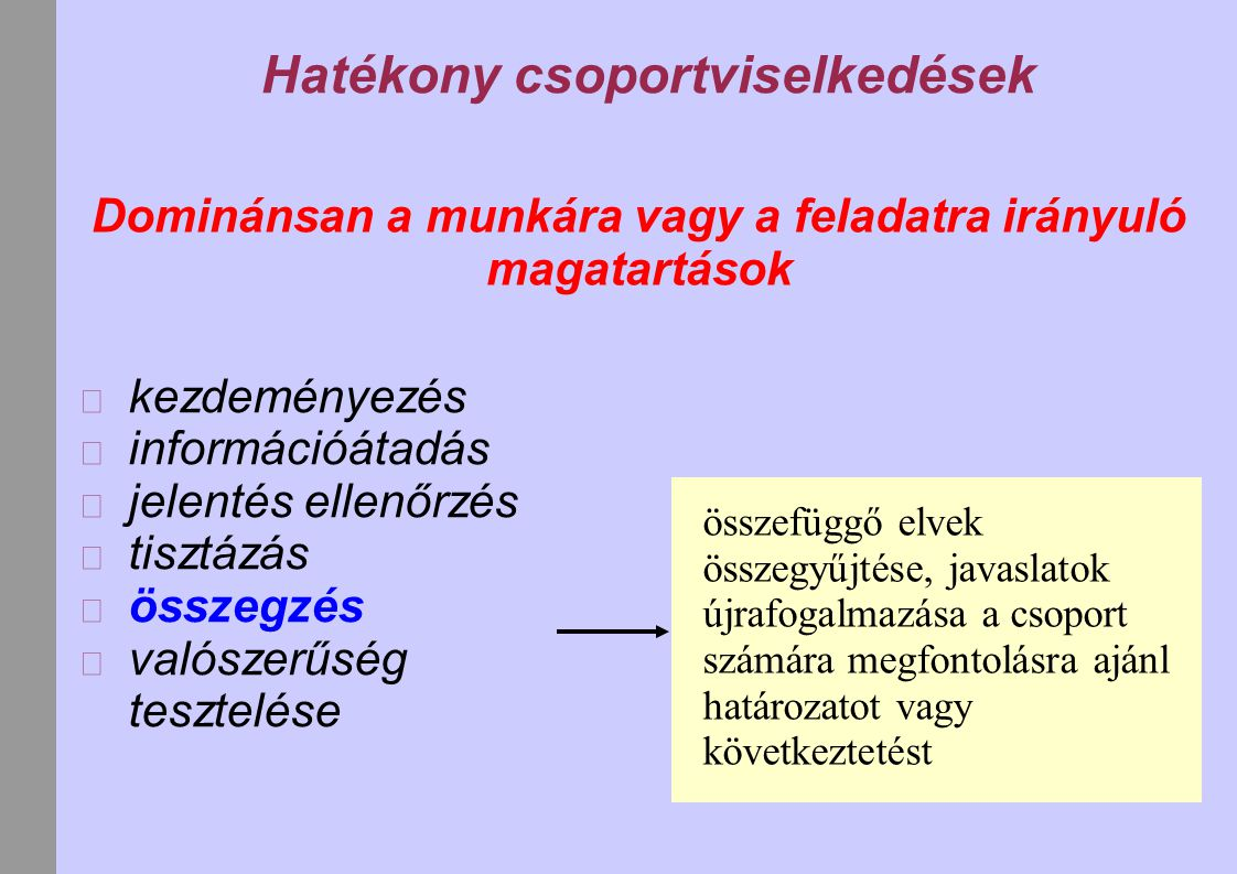 Hatékony csoportviselkedések Dominánsan a munkára vagy a feladatra irányuló magatartások kezdeményezés információátadás jelentés ellenőrzés tisztázás