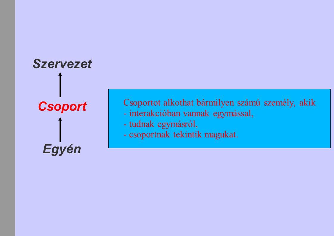 Szervezet Csoport Egyén Csoportot alkothat bármilyen számú személy, akik - interakcióban vannak egymással, - tudnak egymásról, - csoportnak tekintik magukat.