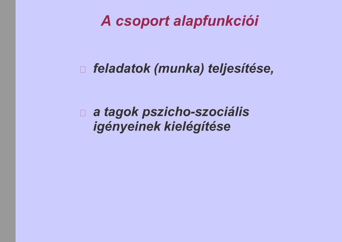 A csoport alapfunkciói feladatok (munka) teljesítése, a tagok pszicho-szociális igényeinek kielégítése