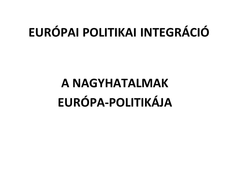 EURÓPAI POLITIKAI INTEGRÁCIÓ A NAGYHATALMAK EURÓPA-POLITIKÁJA
