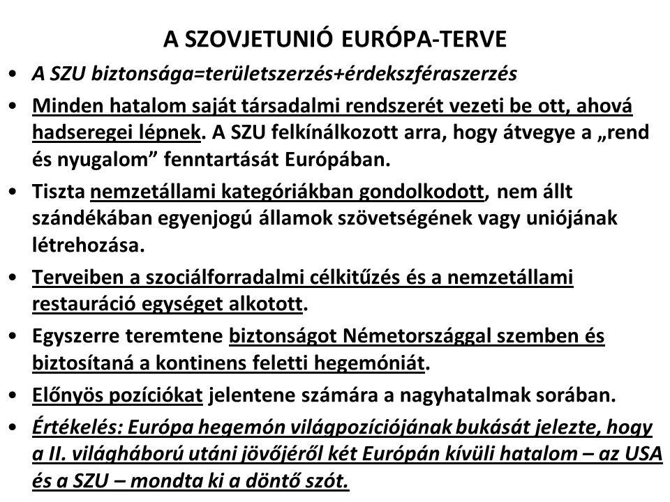 A SZOVJETUNIÓ EURÓPA-TERVE A SZU biztonsága=területszerzés+érdekszféraszerzés Minden hatalom saját társadalmi rendszerét vezeti be ott, ahová hadsereg
