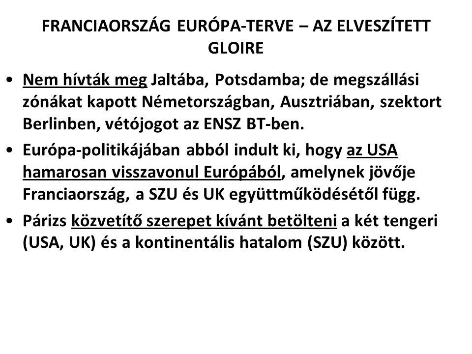 FRANCIAORSZÁG EURÓPA-TERVE – AZ ELVESZÍTETT GLOIRE Nem hívták meg Jaltába, Potsdamba; de megszállási zónákat kapott Németországban, Ausztriában, szekt