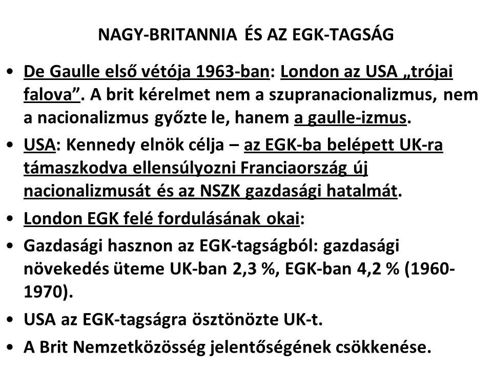 """NAGY-BRITANNIA ÉS AZ EGK-TAGSÁG De Gaulle első vétója 1963-ban: London az USA """"trójai falova"""". A brit kérelmet nem a szupranacionalizmus, nem a nacion"""