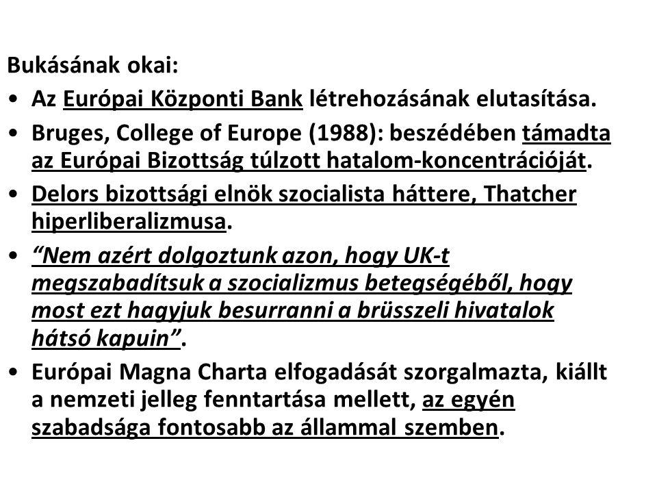 Bukásának okai: Az Európai Központi Bank létrehozásának elutasítása. Bruges, College of Europe (1988): beszédében támadta az Európai Bizottság túlzott