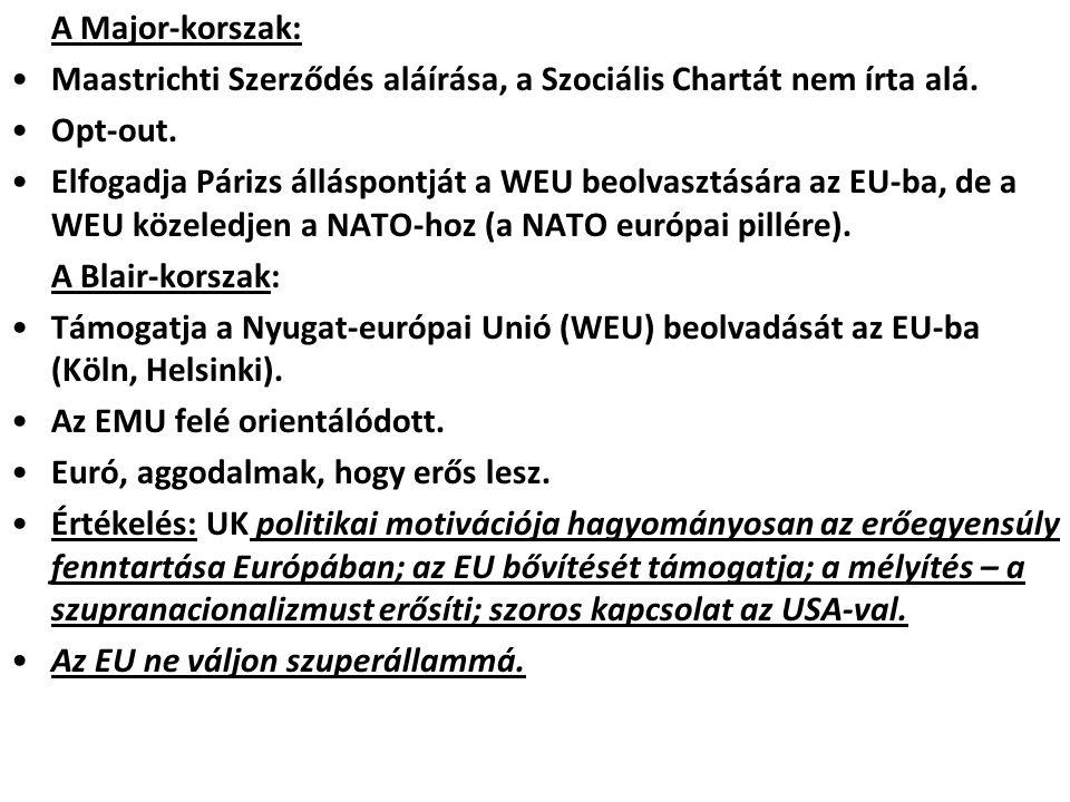 A Major-korszak: Maastrichti Szerződés aláírása, a Szociális Chartát nem írta alá. Opt-out. Elfogadja Párizs álláspontját a WEU beolvasztására az EU-b