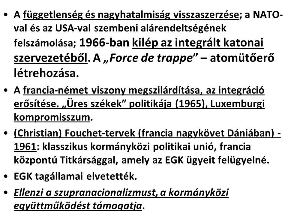 A függetlenség és nagyhatalmiság visszaszerzése; a NATO- val és az USA-val szembeni alárendeltségének felszámolása; 1966-ban kilép az integrált katona