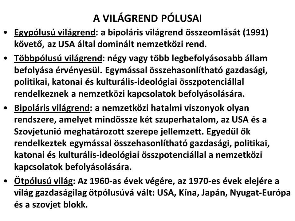 A VILÁGREND PÓLUSAI Egypólusú világrend: a bipoláris világrend összeomlását (1991) követő, az USA által dominált nemzetközi rend. Többpólusú világrend