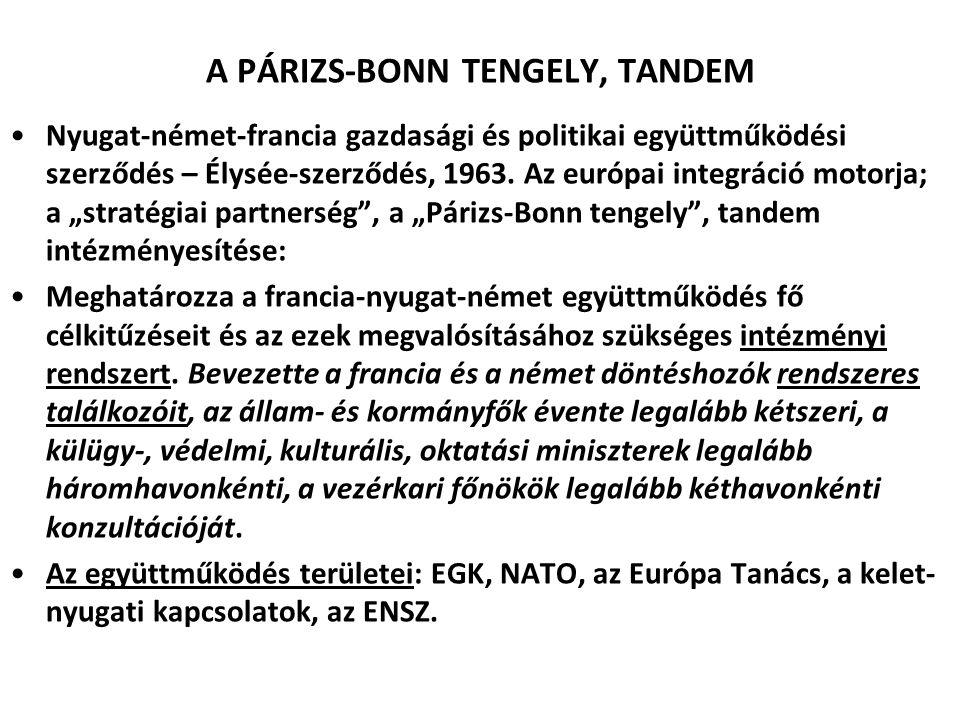 A PÁRIZS-BONN TENGELY, TANDEM Nyugat-német-francia gazdasági és politikai együttműködési szerződés – Élysée-szerződés, 1963. Az európai integráció mot