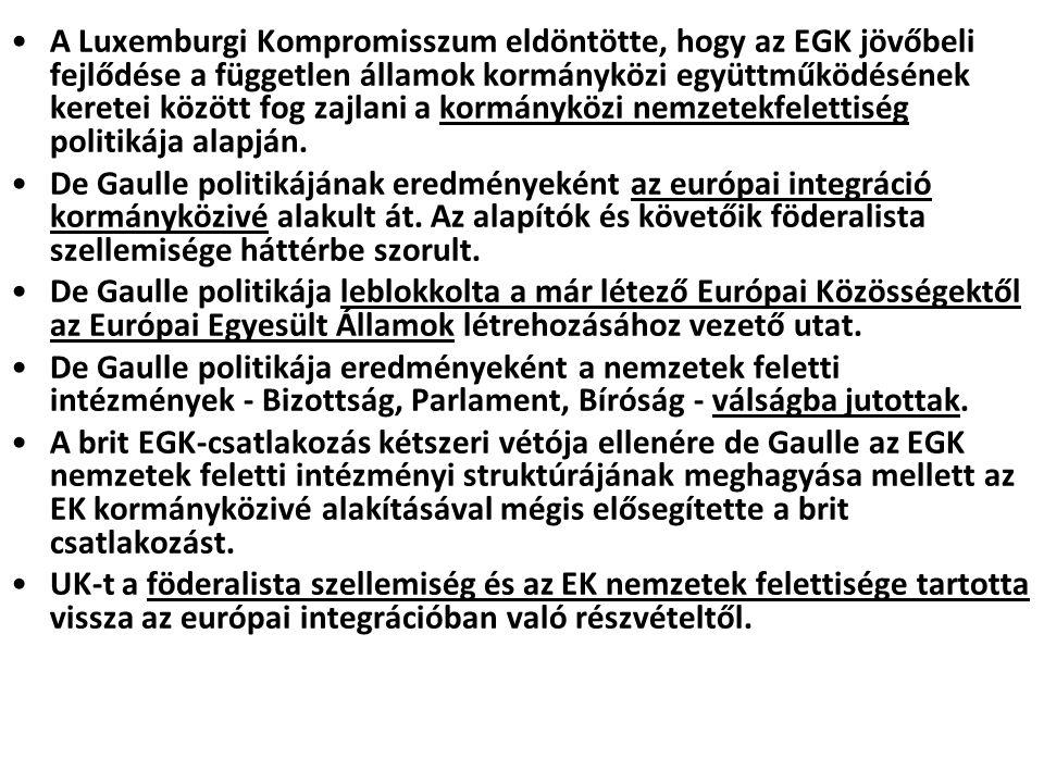 A Luxemburgi Kompromisszum eldöntötte, hogy az EGK jövőbeli fejlődése a független államok kormányközi együttműködésének keretei között fog zajlani a k