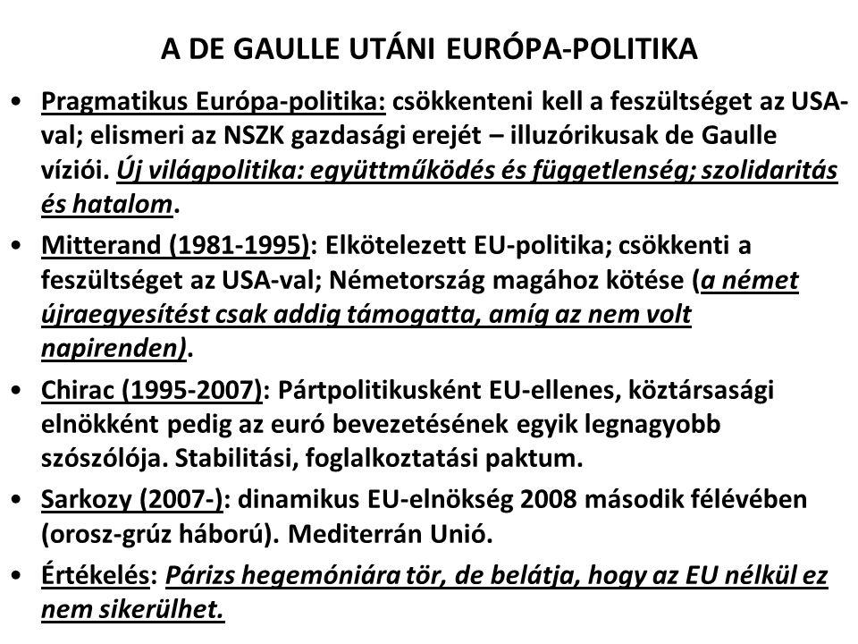 A DE GAULLE UTÁNI EURÓPA-POLITIKA Pragmatikus Európa-politika: csökkenteni kell a feszültséget az USA- val; elismeri az NSZK gazdasági erejét – illuzó