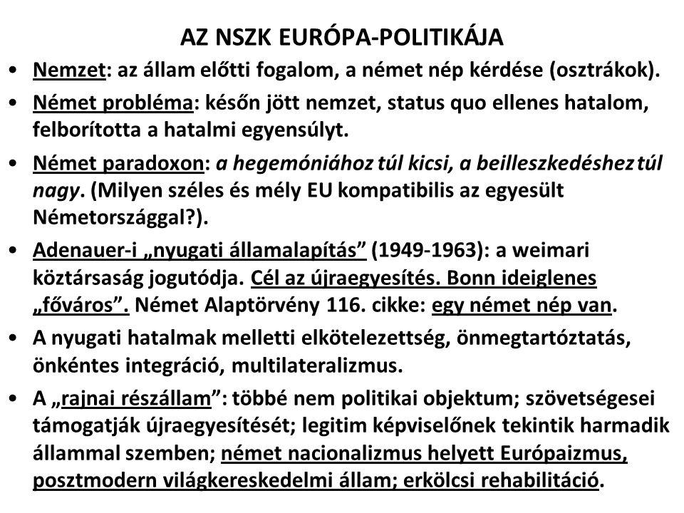 AZ NSZK EURÓPA-POLITIKÁJA Nemzet: az állam előtti fogalom, a német nép kérdése (osztrákok). Német probléma: későn jött nemzet, status quo ellenes hata