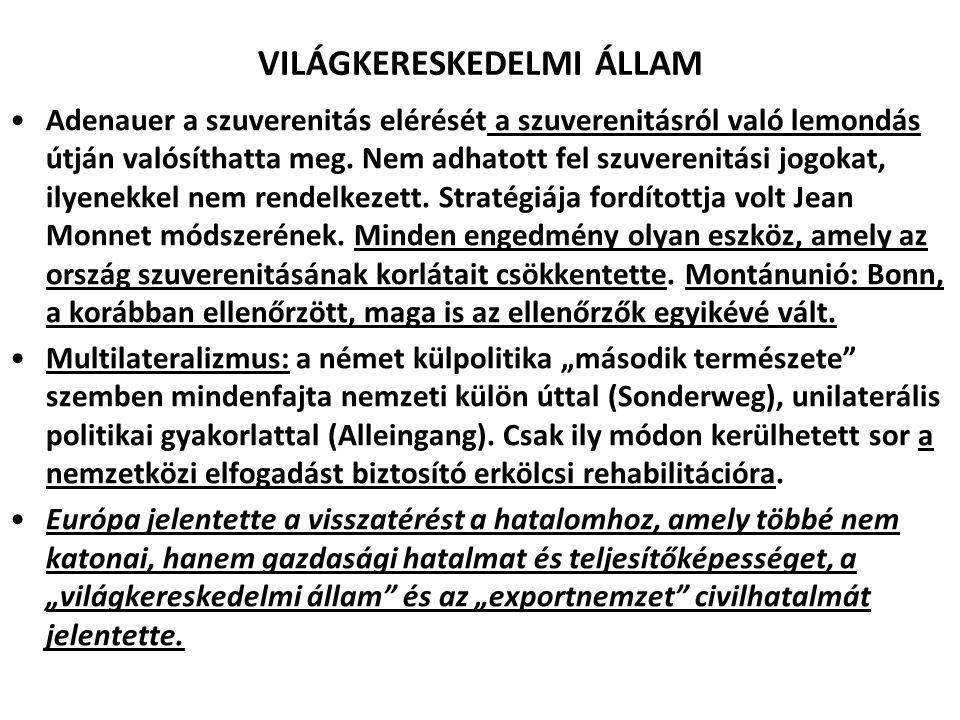 VILÁGKERESKEDELMI ÁLLAM Adenauer a szuverenitás elérését a szuverenitásról való lemondás útján valósíthatta meg. Nem adhatott fel szuverenitási jogoka