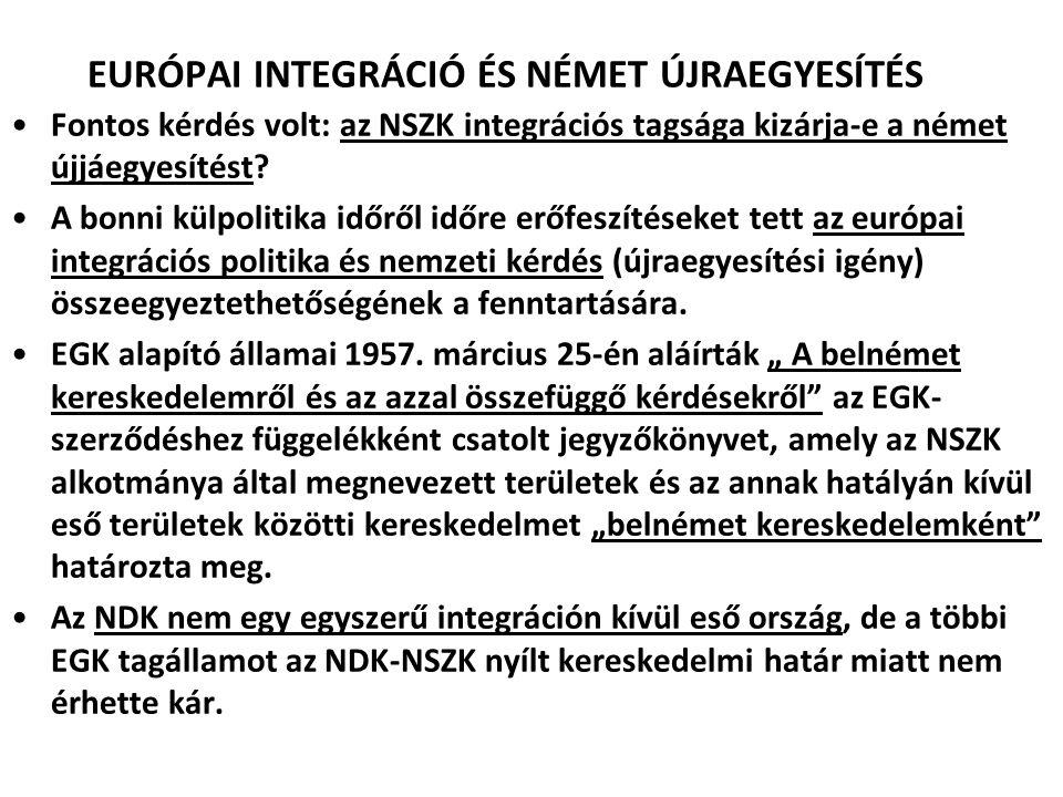 EURÓPAI INTEGRÁCIÓ ÉS NÉMET ÚJRAEGYESÍTÉS Fontos kérdés volt: az NSZK integrációs tagsága kizárja-e a német újjáegyesítést? A bonni külpolitika időről