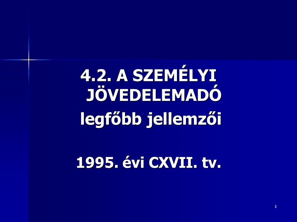 1 4.2. A SZEMÉLYI JÖVEDELEMADÓ legfőbb jellemzői legfőbb jellemzői 1995. évi CXVII. tv.