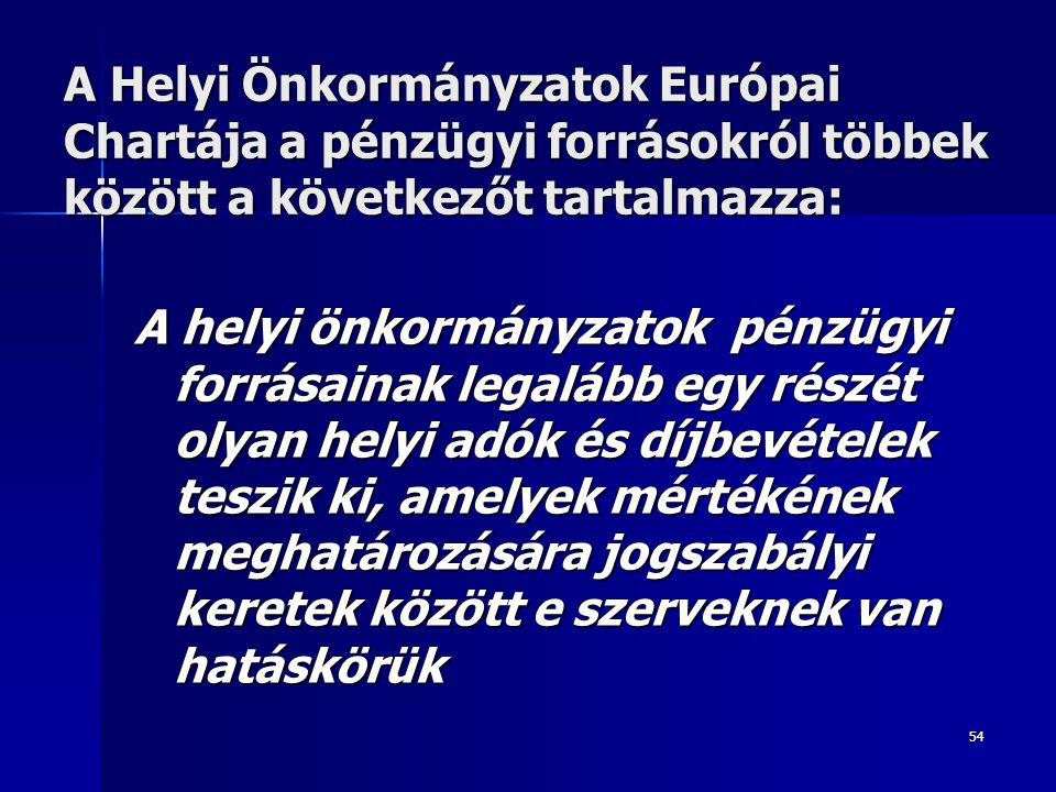 54 A Helyi Önkormányzatok Európai Chartája a pénzügyi forrásokról többek között a következőt tartalmazza: A helyi önkormányzatok pénzügyi forrásainak