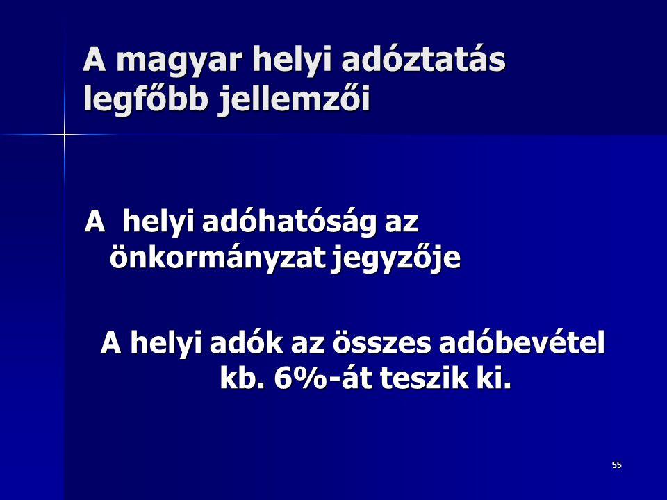 55 A magyar helyi adóztatás legfőbb jellemzői A helyi adóhatóság az önkormányzat jegyzője A helyi adók az összes adóbevétel kb. 6%-át teszik ki.