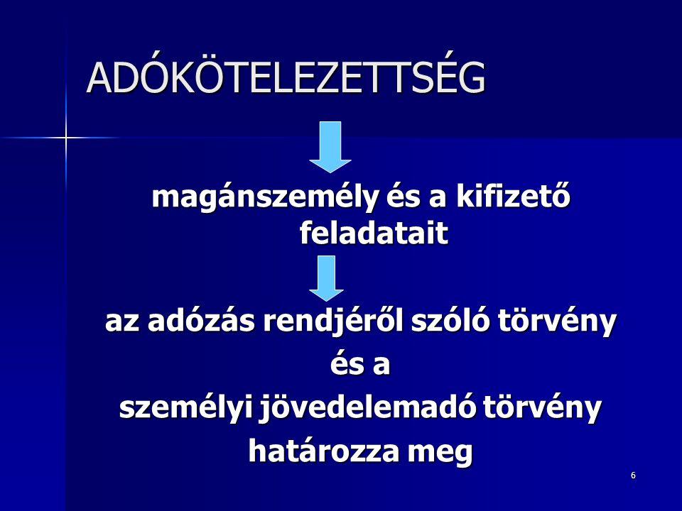 """17 HÁROM """"ADÓSZINT SZÁMÍTOTT ADÓ (progresszív adótábla) - külföldön megfizetett adó meghatározott összege - adójóváírás - adóterhet nem viselő járandóság adója ÖSSZEVONT ADÓALAP ADÓJA - adókedvezmények FIZETENDŐ ADÓ"""