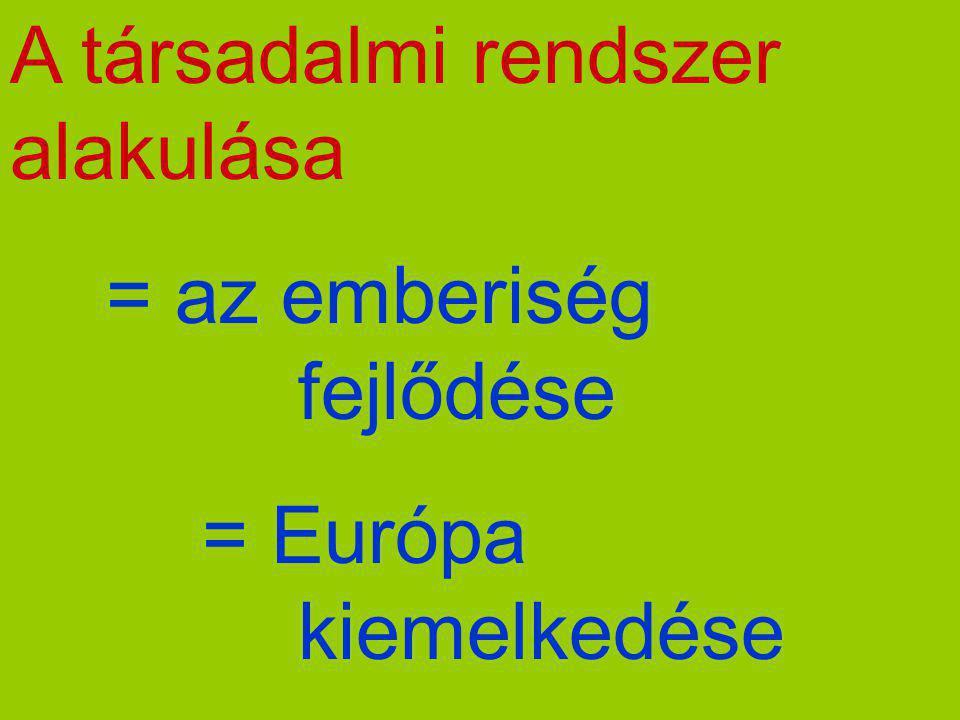 A társadalmi rendszer alakulása = az emberiség fejlődése = Európa kiemelkedése