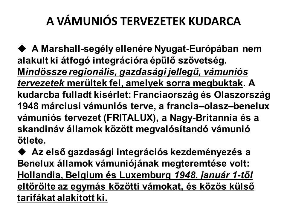  A Marshall-segély ellenére Nyugat-Európában nem alakult ki átfogó integrációra épülő szövetség. Mindössze regionális, gazdasági jellegű, vámuniós te