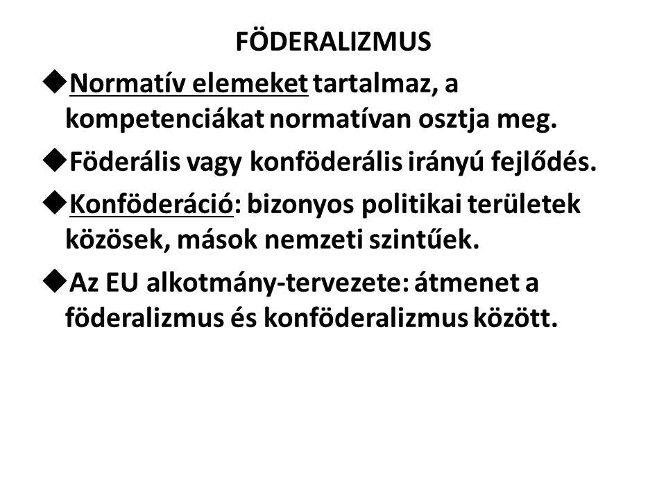 FÖDERALIZMUS  Normatív elemeket tartalmaz, a kompetenciákat normatívan osztja meg.  Föderális vagy konföderális irányú fejlődés.  Konföderáció: biz